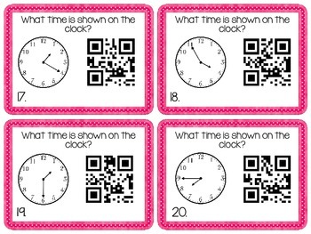 Time- Time to 5 Minutes Task Cards with QR Codes