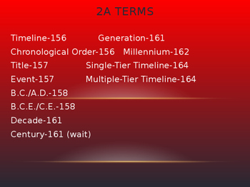 Time/Timelines vocab terms