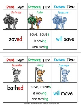 Identifying Verb Tense {Color Coded Cards for Practicing Simple Verb Tenses}