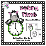 Telling Time To The Hour and Half Hour Zebra Telling Time