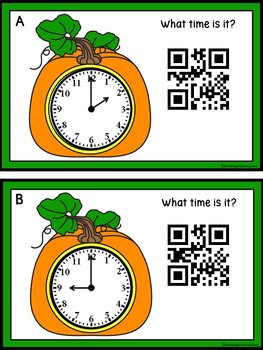 Time To The Hour & Half Hour -Pumpkin Theme (QR Code Optional)