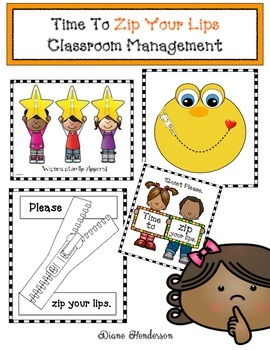 Time To Zip Your Lips Classroom Management Packet