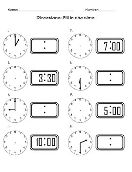 Time (To hour and half hour)