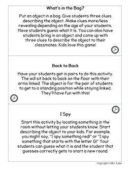 Transition Time Activity Cards
