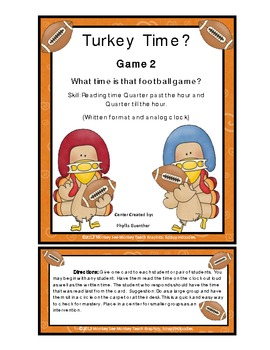 Time: Turkey Time Football Quarter Pass and Till (Game 2)