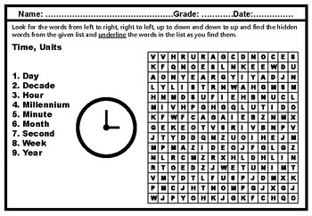 Time Units, Word Search Puzzle Worksheet, Elementary science vocabulary, No Prep