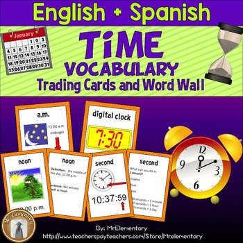 Time Vocabulary Trading Card Activities and Word Wall Posters