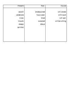 Time Warp Tenses activity sheet/entrance ticket