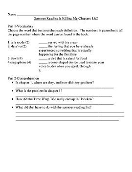 Time Warp Trio #7 Summer Reading is Killing Me Guided Reading Unit Level N