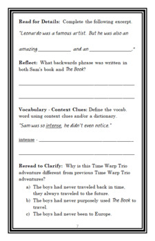 Time Warp Trio : Da Wild, Da Crazy, Da Vinci (Jon Scieszka) Novel Study