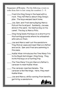 Time Warp Trio: Marco? Polo! (John Scieszka) Novel Study / Reading Comprehension
