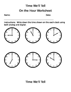 Time We'll Tell Worksheets