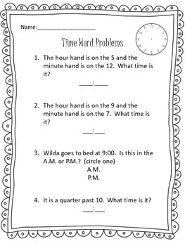 Time Word Problem Assessment