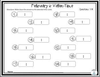 Time Word Problems - Elasped Time - February is Valen-Time