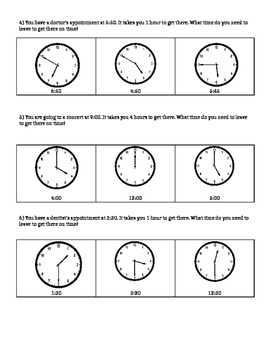 Time Word Problems- What Time Should You Leave?