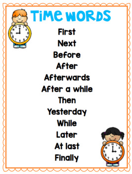 Time Words Poster - Recount Writing
