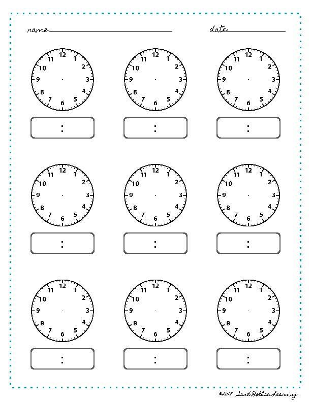 Time Worksheet Blank Clock Montessori Printable by Sand ...