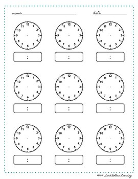 time worksheet blank clock montessori printable by sand dollar learning. Black Bedroom Furniture Sets. Home Design Ideas