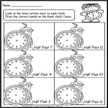Telling Time Worksheets Freebie.
