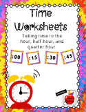 Time Worksheets: Hour, Half Hour, and Quarter Hour
