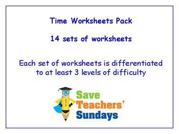 Time Worksheets Bundle / Pack (14 sets for 1st - 2nd grade)