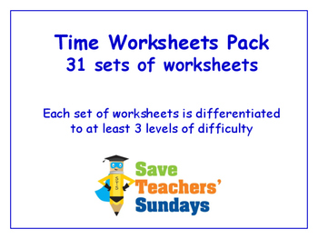 Time Worksheets Bundle / Pack (31 sets for 2nd - 4th grade)