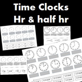 Time Worksheets- Clocks to the hour and clocks to half hour