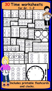 Time Worksheets and Flashcards Gr. 1-2