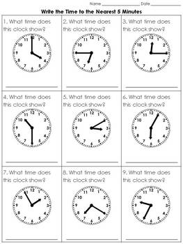 Time: Write the Time to the Nearest 5 Minutes Practice Sheets - King Virtue