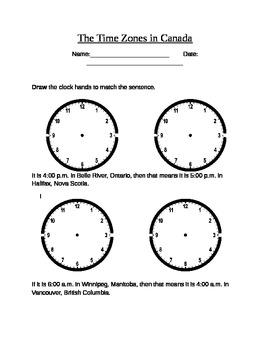 Time Zone Worksheet