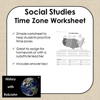 time zone worksheet usa middle school social studies tpt. Black Bedroom Furniture Sets. Home Design Ideas
