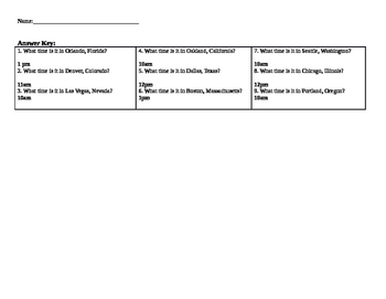 Time Zone Worksheet - USA - Middle School Social Studies