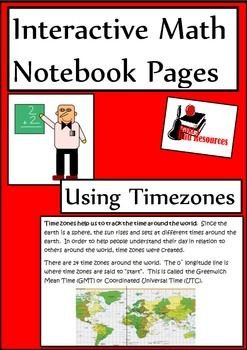 Time Zones Lesson for Interactive Math Notebooks