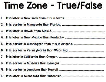 Time Zones - Life Skills - Special Education - Reading - Math - Geography
