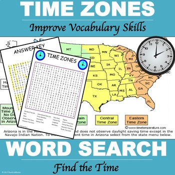"Time Zones ""Word Search"""