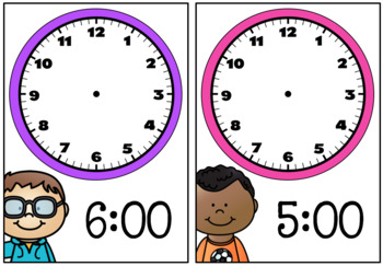 Time activities and worksheets - Time to the hour and half hour