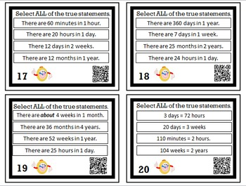 Time and Calendar Equivalents Task Cards with QR Codes