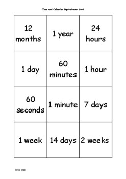 Time and Calendar Matching Cards