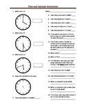 Time and Elapsed Time Assessment: Lower Grades