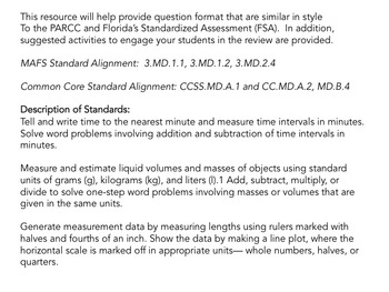 Time and Measurement Grade 3 Common Core and MAFS Review