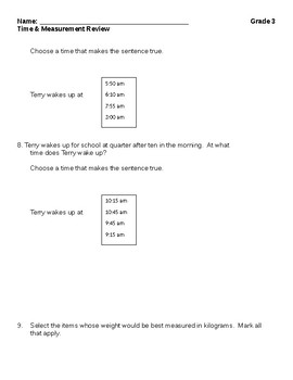 Time and Measurement Review