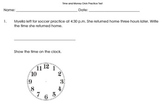 Time and Money Practice Math Test