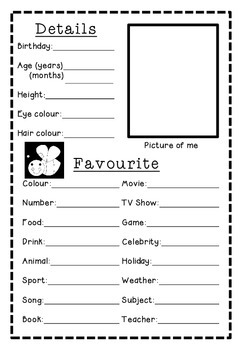 First day/first week back to school - Time capsule booklet - 'All About Me'