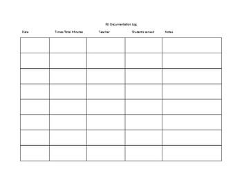 Time documentation sheet for RtI teachers or tutorials