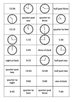 Time dominoes- o'clock, half past, quarter to/past