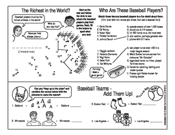 Time for Baseball Two-Page Activity Set