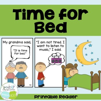 Time for Bed Emergent Reader Book {Young Readers, ESL, EFL}