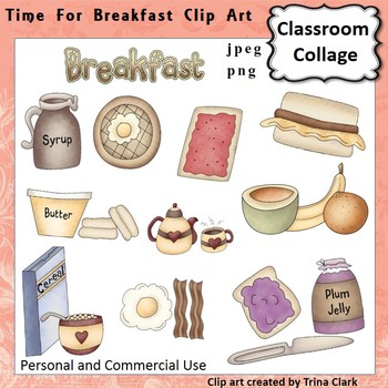 Time for Breakfast Foods Clip Art - Color - personal & commercial use