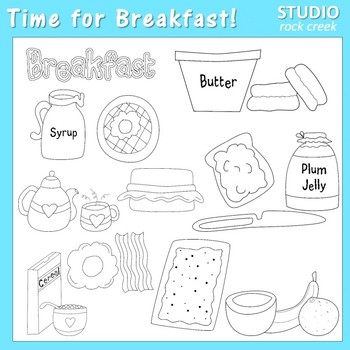 Time for Breakfast Line Art B/W - personal & commercial use T. Clark