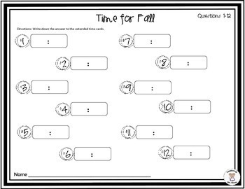 Math- Measurement- Time- Elapsed Time Task Cards - Time for Fall